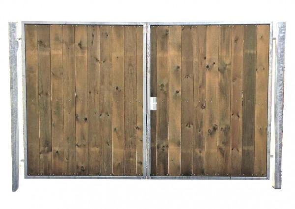 Einfahrtstor Verzinkt Garten Holz-Tor senkr. Symmetrisch 2-Flügeltor 300cmx160cm