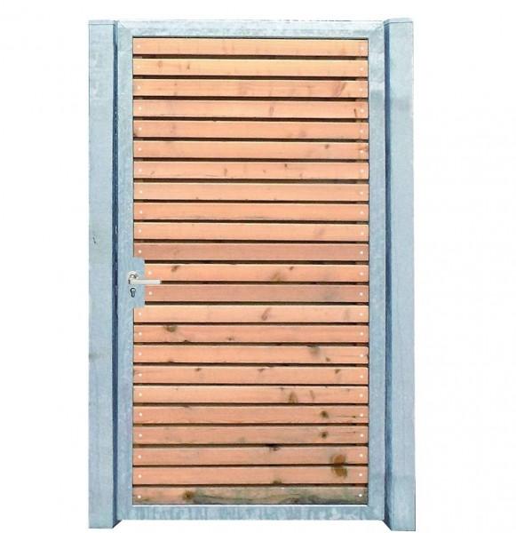 Gartentor Holztor mit Pfosten 105cm x 180cm Tor Pforte Verzinkt Holzfüllung Quer