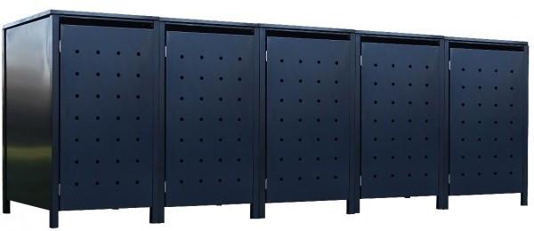 5 Tailor Mülltonnenboxen Basic für 120 Liter Tonne Stanzung 1 komplett Anthrazit