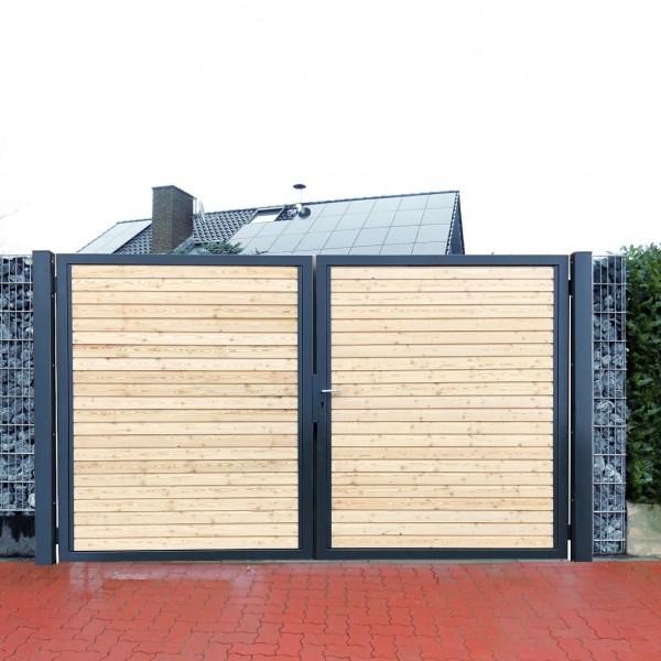 Premium Einfahrtstor Garten-Tor Anthrazit Holz Symmetrisch 2-Flügeltor 200x180cm