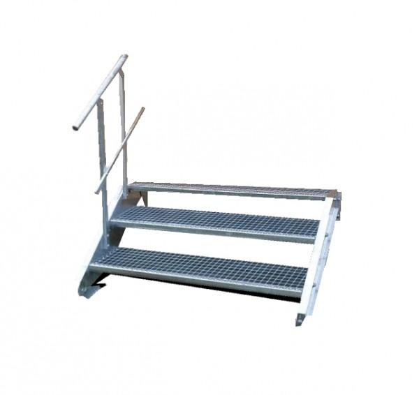 Stahltreppe 2 Stufen-Breite 150cm Variable-Höhe 30-40cm mit einseit. Geländer