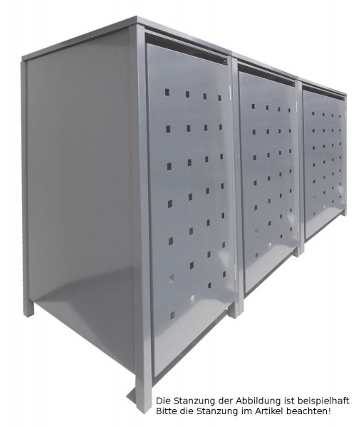 3 Tailor Mülltonnenboxen Basic für 240 Liter Tonnen o.Stanzung kompl. Silbergrau