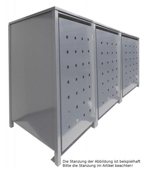 3 Tailor Mülltonnenboxen Basic für 120 Liter Tonnen Stanzung 5 kompl. Silbergrau