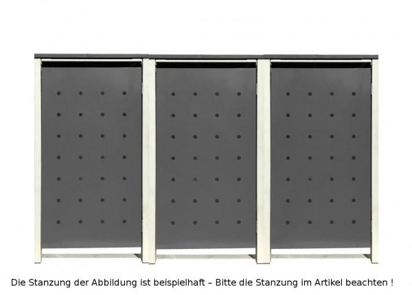 3 Tailor Mülltonnenboxen Basic für 120 Liter Tonnen Stanzung 5 Silbergrau / Grau