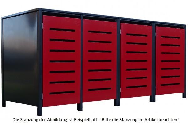 4 Tailor Mülltonnenboxen Basic für 240 Liter Tonne Stanz.1 Anthrazit / Front Rot