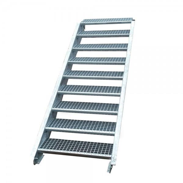 Stahltreppe Treppe 9 Stufen-Stufenbreite 140cm / Geschosshöhe 135-180cm verzinkt