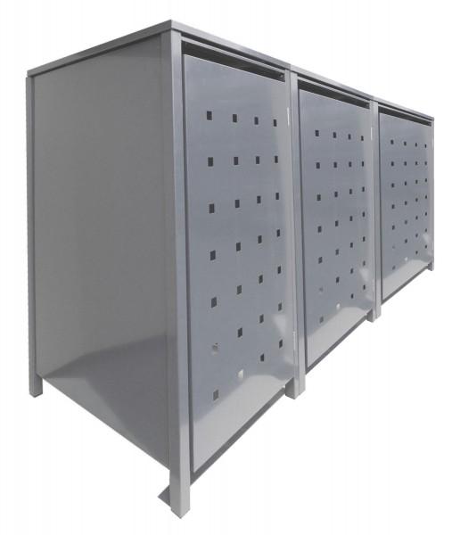 3 Tailor Mülltonnenboxen Basic für 120 Liter Tonnen Stanzung 2 kompl. Silbergrau