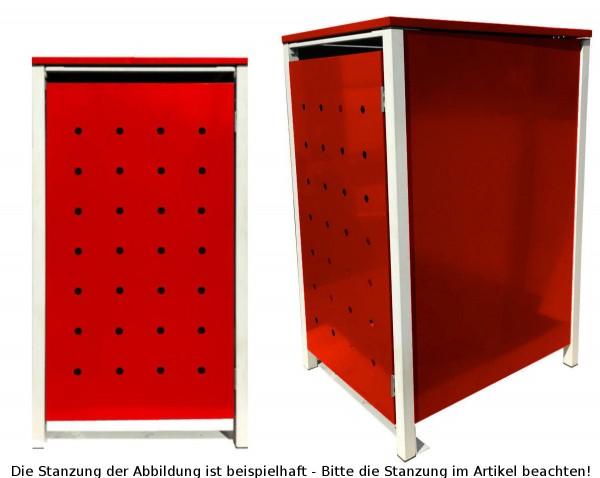 1 Tailor Mülltonnenbox Basic für 120 Liter Tonne / Stanzung 3 / Rot / Grau