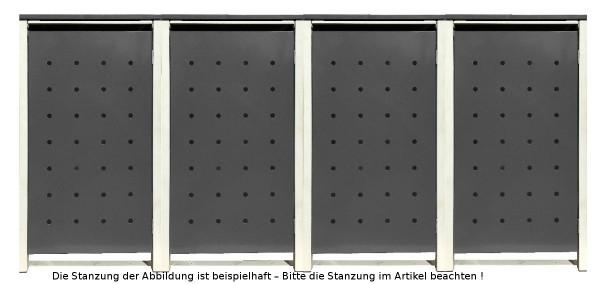 4 Tailor Mülltonnenboxen Basic für 240 Liter Tonnen Stanzung 6 Silbergrau / Grau
