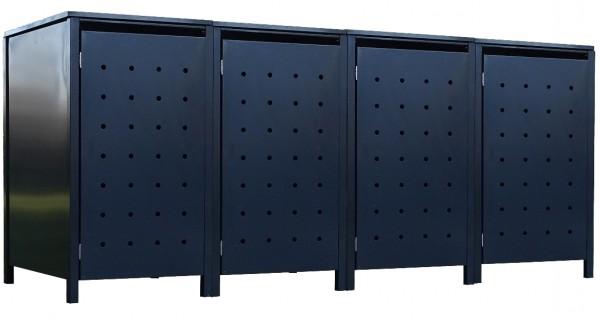 4 Tailor Mülltonnenboxen Basic für 240 Liter Tonne Stanzung 1 komplett Anthrazit