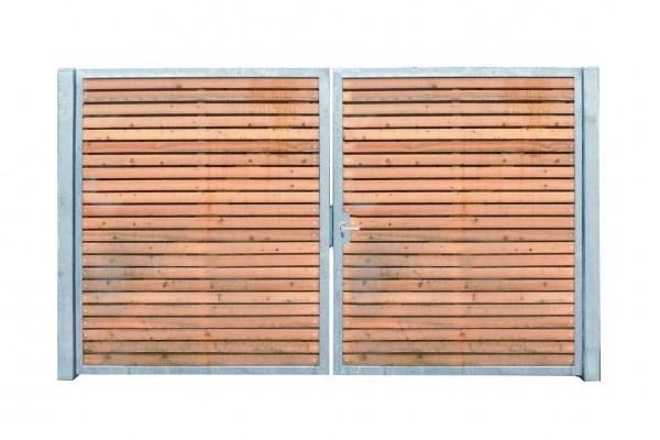 Einfahrtstor Verzinkt Garten Holz-Tor quer Symmetrisch 2-Flügeltor 400cmx160cm