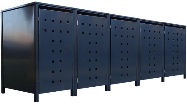 5 Tailor Mülltonnenboxen Basic für 120 Liter Tonne Stanzung 7 komplett Anthrazit