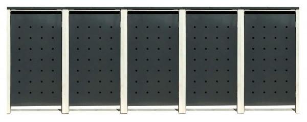 5 Tailor Mülltonnenboxen Basic für 240 Liter Tonne /Stanzung 1 /Anthrazit / Grau