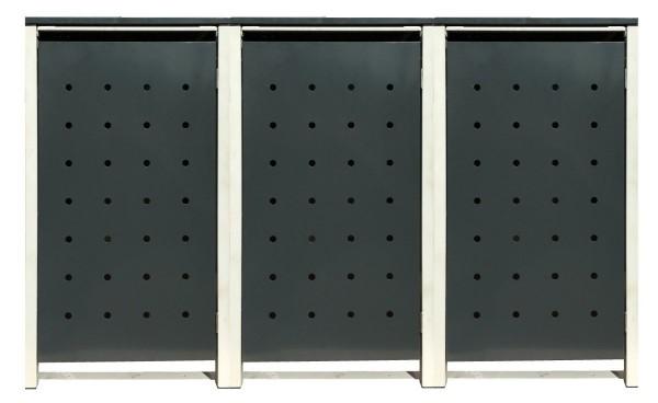 3 Tailor Mülltonnenboxen Basic für 240 Liter Tonne /Stanzung 1 /Anthrazit / Grau