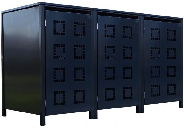 3 Tailor Mülltonnenboxen Basic für 240 Liter Tonne Stanzung 5 komplett Anthrazit