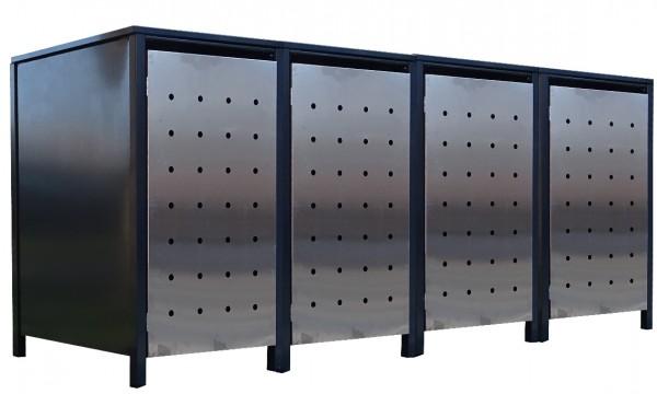4x Premium 120 Liter Tailor Mülltonnenboxen Stanzung 1 Anthrazit Tür-Edelstahl