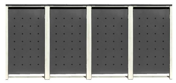 4 Tailor Mülltonnenboxen Basic für 120 Liter Tonnen Stanzung 1 Silbergrau / Grau