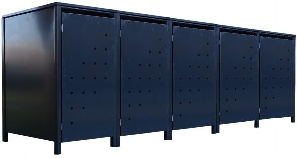 5 Tailor Mülltonnenboxen Basic für 240 Liter Tonne Stanzung 4 komplett Anthrazit