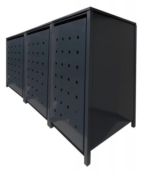 3 Tailor Mülltonnenboxen Basic für 240 Liter Tonnen Stanzung 4 komplett Schwarz