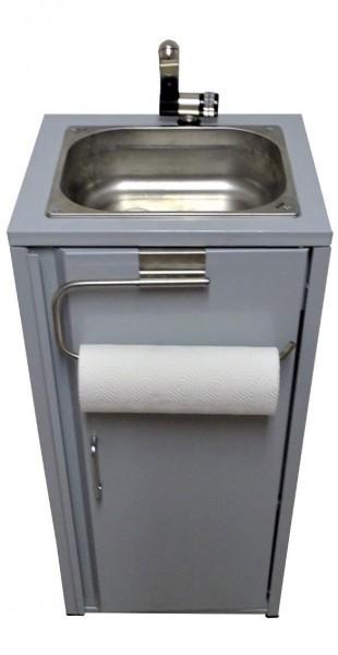 Mobiler Spülbecken Waschbecken Spüle mit Rollenhalter Silbergrau inkl. Zubehör
