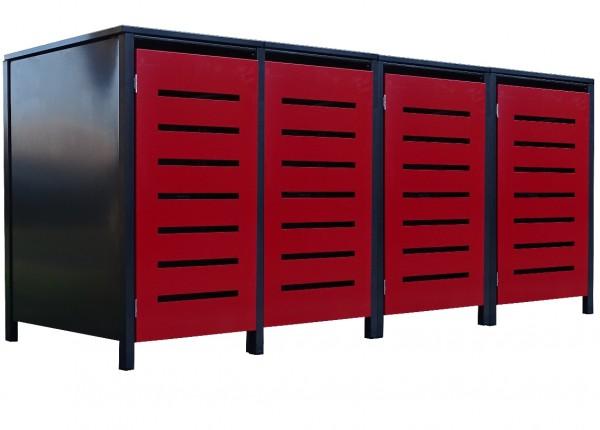 4 Tailor Mülltonnenboxen Basic für 120 Liter Tonne Stanz.6 Anthrazit / Front Rot