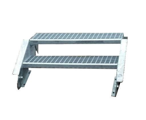 Stahltreppe Treppe 2 Stufen / Stufenbreite 130cm / Geschosshöhe 30-40cm verzinkt