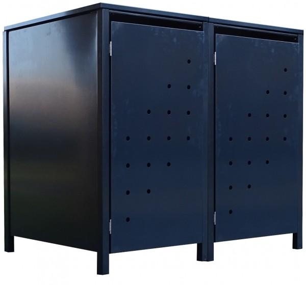 2 Tailor Mülltonnenboxen Basic für 240 Liter Tonne Stanzung 4 komplett Anthrazit