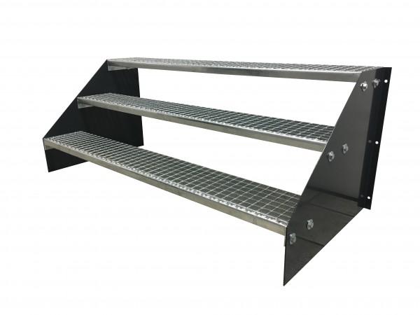 3 stufige freistehende Stahltreppe Standtreppe Breite 150cm Höhe 63cm Schwarz