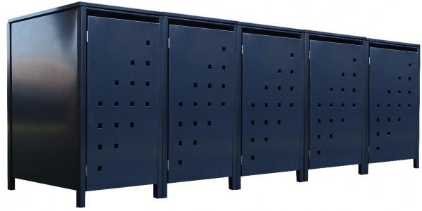 5 Tailor Mülltonnenboxen Basic für 240 Liter Tonne Stanzung 3 komplett Anthrazit