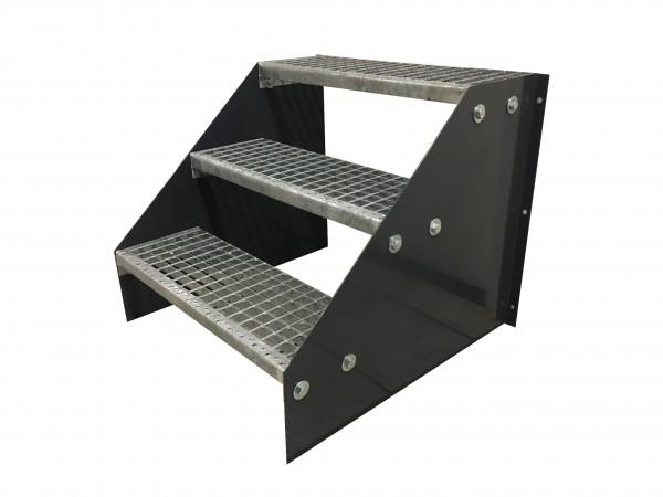 3 stufige freistehende Stahltreppe Standtreppe Breite 60cm Höhe 63cm Schwarz