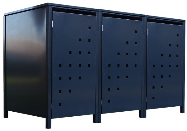 3 Tailor Mülltonnenboxen Basic für 240 Liter Tonne Stanzung 3 komplett Anthrazit