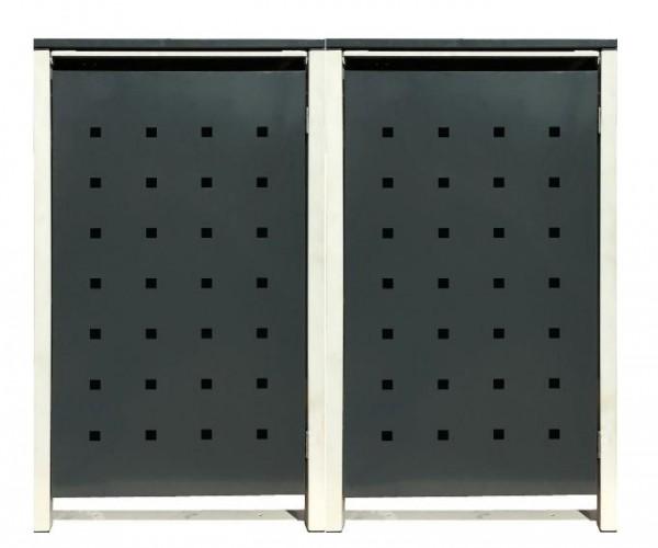 2 Tailor Mülltonnenboxen Basic für 120 Liter Tonne /Stanzung 2 /Anthrazit / Grau