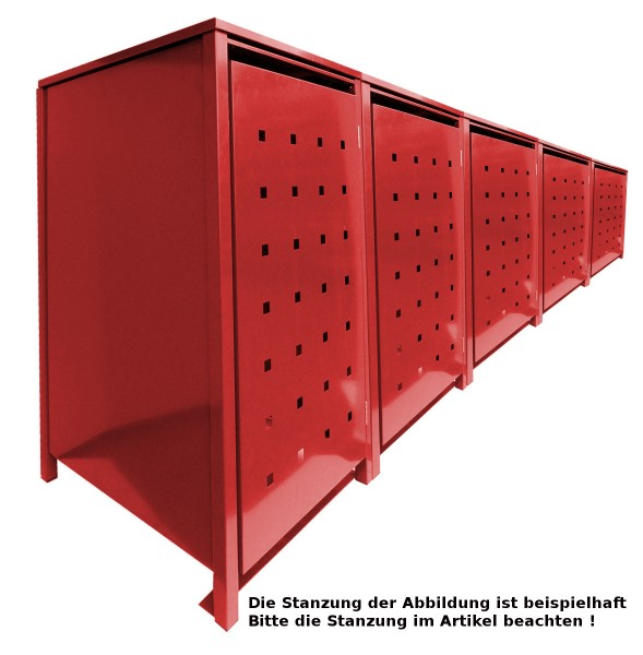5 Tailor MüllTonnennboxen Basic für 120 Liter Tonnen Stanzung 4 komplett in Rot