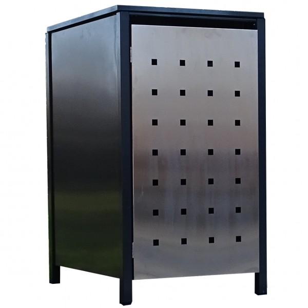 1x Premium 120 Liter Tailor Mülltonnenboxen Stanzung 2 Anthrazit Tür-Edelstahl