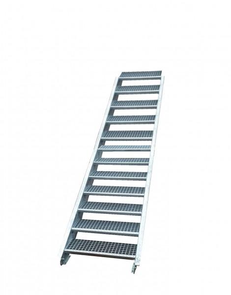 Stahltreppe Treppe 12 Stufen-Stufenbreite 90cm /Geschosshöhe 180-240cm verzinkt