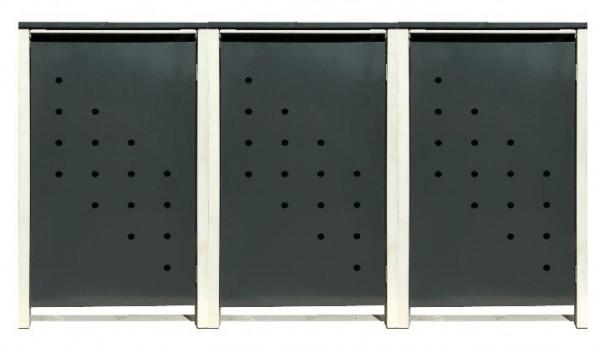 3 Tailor Mülltonnenboxen Basic für 120 Liter Tonne /Stanzung 4 /Anthrazit / Grau