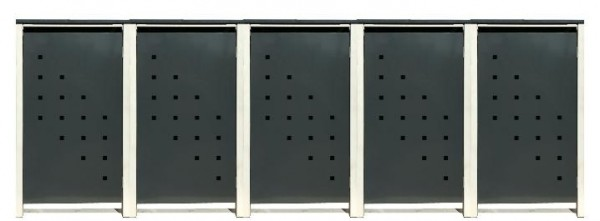5 Tailor Mülltonnenboxen Basic für 120 Liter Tonne /Stanzung 3 /Anthrazit / Grau