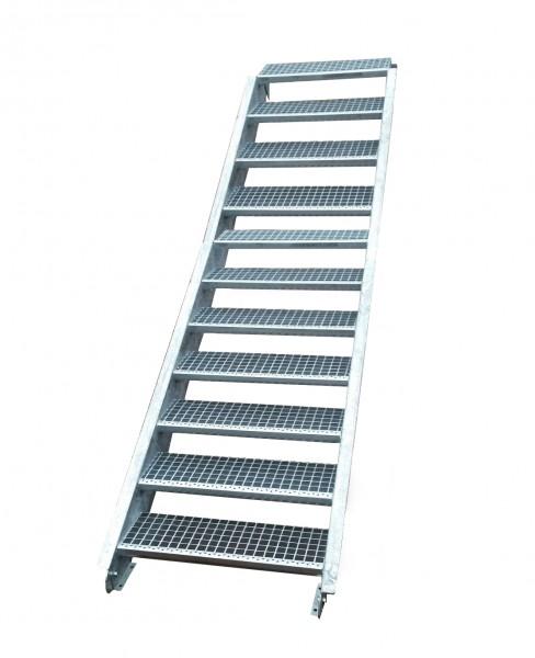 Stahltreppe Treppe 11 Stufen-Stufenbreite 140cm /Geschosshöhe 165-220cm verzinkt