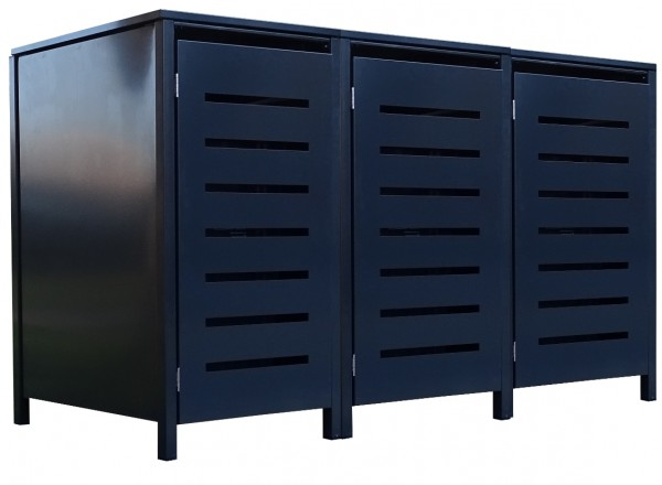 3 Tailor Mülltonnenboxen Basic für 120 Liter Tonne Stanzung 6 komplett Anthrazit