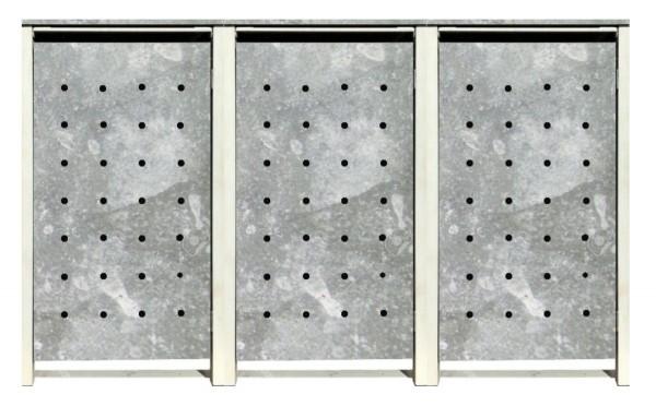 3 Tailor Mülltonnenboxen Basic für 120 Liter Tonnen / Stanzung 1 / Verzinkt / Grau