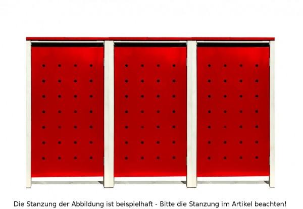 3 Tailor Mülltonnenboxen Basic für 240 Liter Tonnen / Stanzung 2 / Rot / Grau