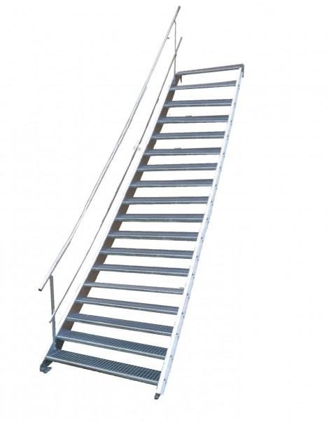 Stahltreppe 18 Stufen-Breite 160cm Variable-Höhe 299-360cm mit einseit. Geländer