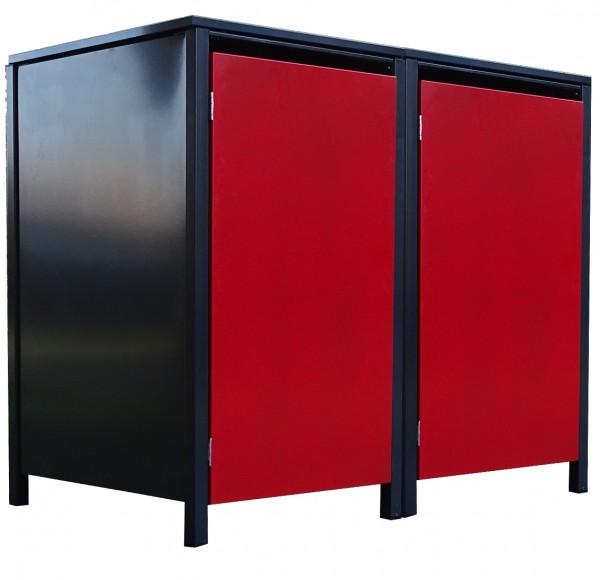 2 Tailor Mülltonnenboxen Basic für 240 L Tonne o.Stanzung Anthrazit / Front Rot