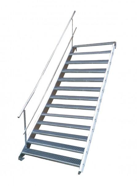 Stahltreppe 13 Stufen-Breite 60cm Variable-Höhe 195-260cm mit einseit. Geländer