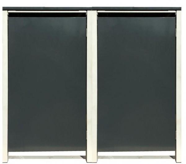 2 Tailor Mülltonnenboxen Basic für 120 Liter Tonne /o.Stanzung /Anthrazit / Grau