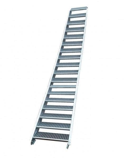 Stahltreppe Treppe 18 Stufen-Stufenbreite 70cm /Geschosshöhe 299-360cm verzinkt