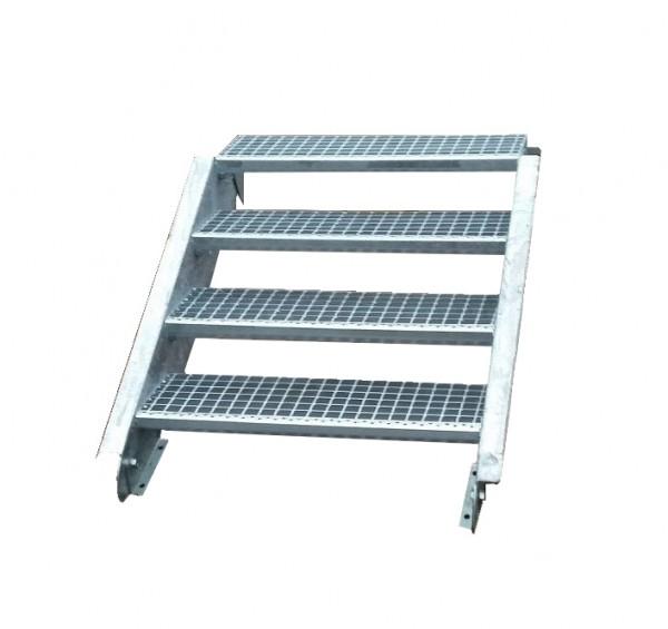 Stahltreppe Treppe 4 Stufen / Stufenbreite 130cm / Geschosshöhe 55-85cm verzinkt