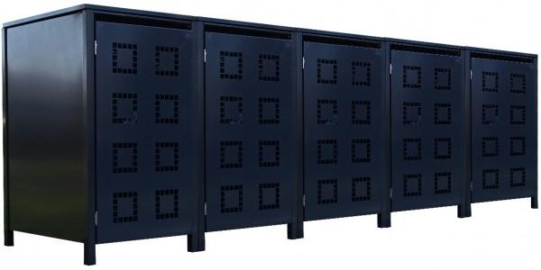 5 Tailor Mülltonnenboxen Basic für 240 Liter Tonne Stanzung 5 komplett Anthrazit