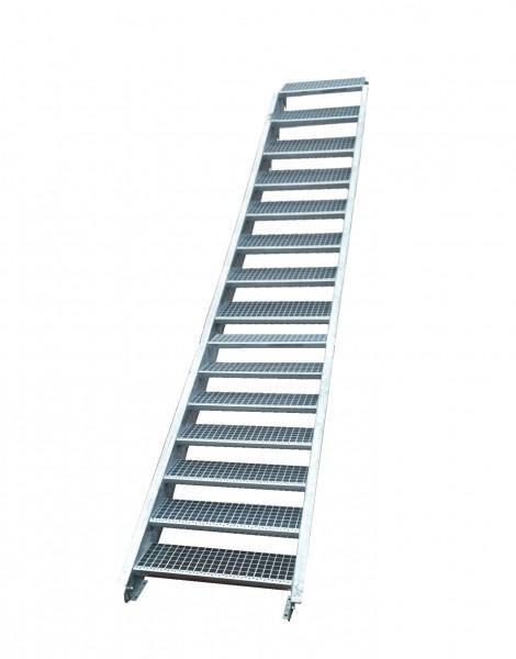 Stahltreppe Treppe 16Stufen-Stufenbreite 70cm /Geschosshöhe 274-340cm verzinkt