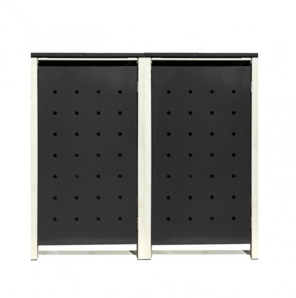 2 Tailor Mülltonnenboxen Basic für 120 Liter Tonnen /Stanzung 1 /Schwarz / Grau